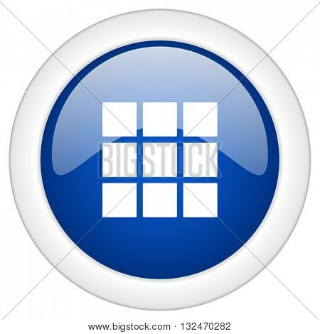 thumbnails grid icon, circle blue glossy internet button, web and mobile app illustration