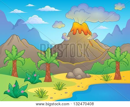 Prehistoric theme landscape 1 - eps10 vector illustration.