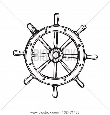 Vector handdrawn illustration. Black ship wheel on white background. Sailing equipement symbol. Tattoo design.
