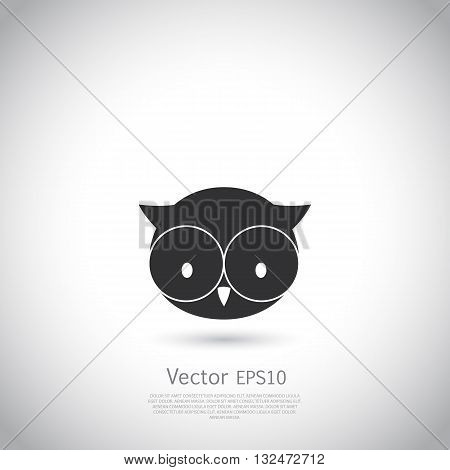 Cartoon owl logo template. Vector illustration on gray background with place for your text.
