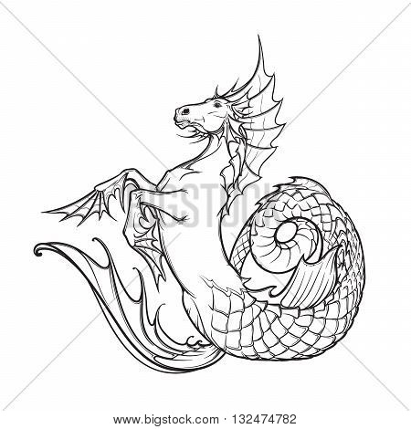 Hippocampus greek mythological creature. Kelpie scottish fairy tale water horse. Black and white hand drawn sketch. EPS10 vector illustration.