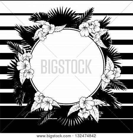 Tropical thicket. Palm tree leaves and trumpetbush flowers wreath. Trendy black and white background summer design template. Decorative circular frame. EPS10 vector illustration.