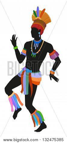 Mehinako people dance ritual dance in the bright national costume