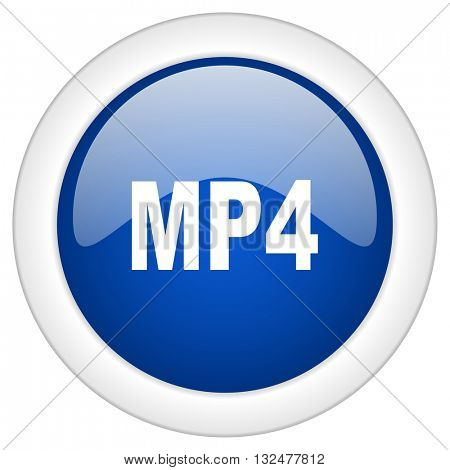 mp4 icon, circle blue glossy internet button, web and mobile app illustration
