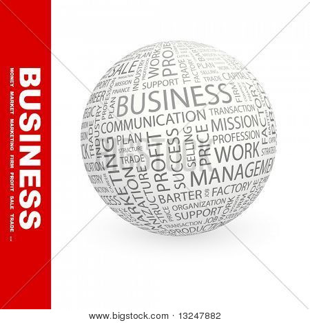 BUSINESS. Globe with different association terms.