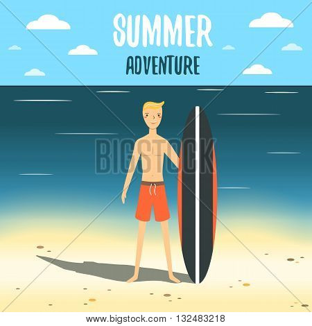Cute flat style card postcard background with boy surf board beach sea sky ocean clouds. Summer adventure cover. Background with young man surfer tourist. Holiday vacation rest background