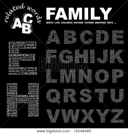 FAMILY. Vector letter collection. Illustration with different association terms.