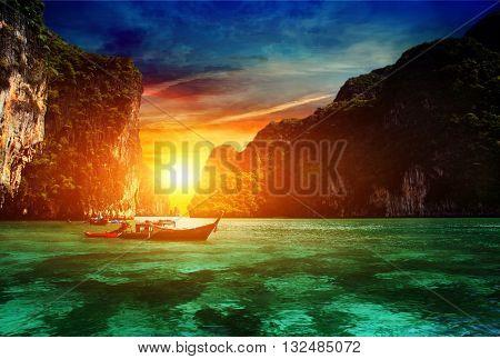 Thailand, Phi Phi Island. sunset over the Andaman Sea