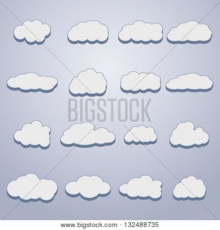 Set of sixteen white clouds of different shapes with 3D effects vector illustration.