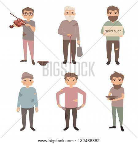 Homeless people vector illustration. Poor, unemployed, mooch, needs a job. Vector in flat style. Cartoon character. Isolated illustration on white background