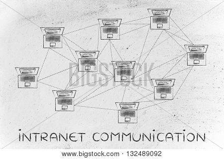 Computer Network With Plenty Of Connections, Intranet Communication