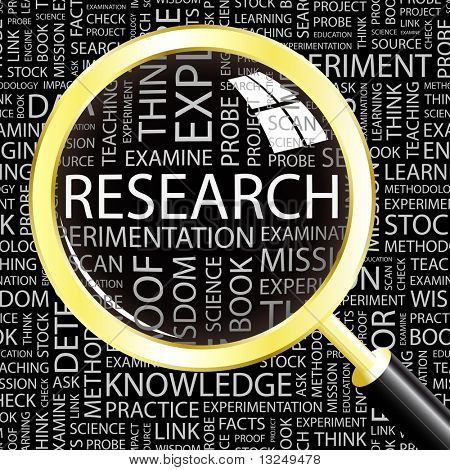RESEARCH. Magnifying glass over seamless background with different association terms. Vector illustration.