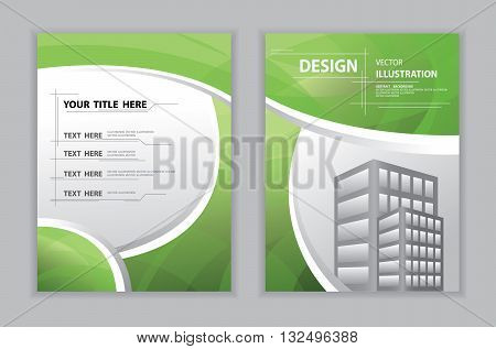 Abstract green curve templete and book cover annual report brochure flyer design template abstract flat background textured frame and border vector