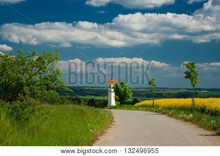 Landscape with chapel. The chapel is small sacred building serving for orientation. South Moravia, Czech Republic.
