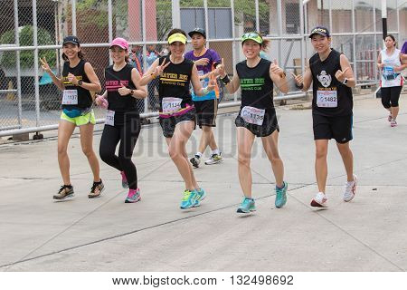 BANGKOK THAILAND - MAY 29 : sport and healthy people running in bangkok port mini marathon event on may 13 2016 in bangkok thailand