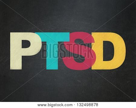 Healthcare concept: Painted multicolor text PTSD on School board background, School Board