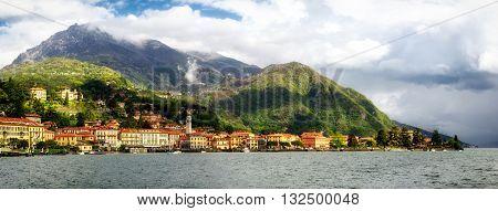 Lago di Como (Lake Como) Menaggio high definition panorama at golden hour