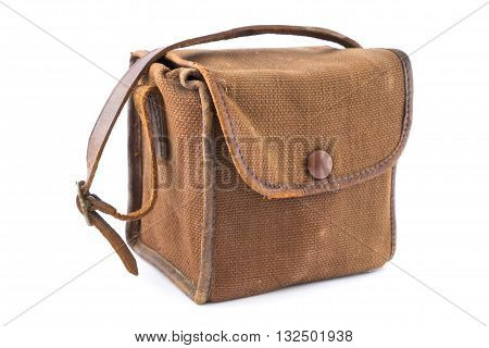 Small Vintage Brown Canvas Camera Bag over white.