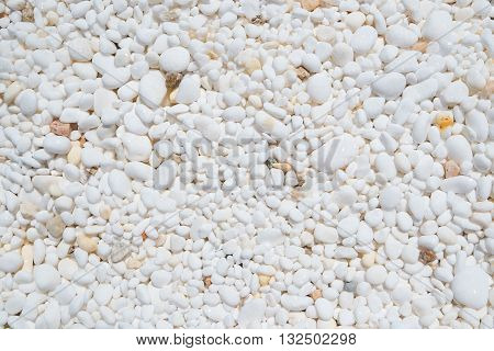 Background texture of small white marble pebbles.
