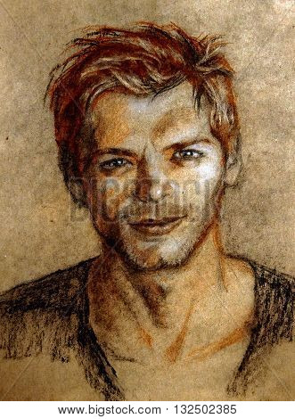 Pastel drawing. Illustration. Portrait of a young man with short hair. Anfas . Sanguine, charcoal, pastel.