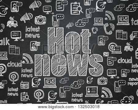 News concept: Chalk White text Hot News on School board background with  Hand Drawn News Icons, School Board