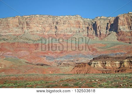 striations of colors and rock layers at the Vermillion Cliffs in northern Arizona