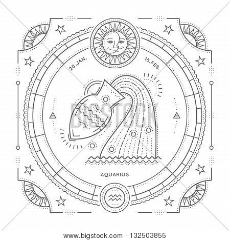 Vintage thin line Aquarius zodiac sign label. Retro vector astrological symbol mystic sacred geometry element emblem logo. Stroke outline illustration. Isolated on white background.
