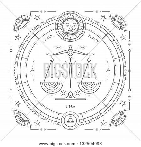 Vintage thin line Libra zodiac sign label. Retro vector astrological symbol mystic sacred geometry element emblem logo. Stroke outline illustration. Isolated on white background.