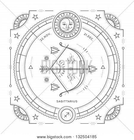 Vintage thin line Sagittarius zodiac sign label. Retro vector astrological symbol mystic sacred geometry element emblem logo. Stroke outline illustration. Isolated on white background.