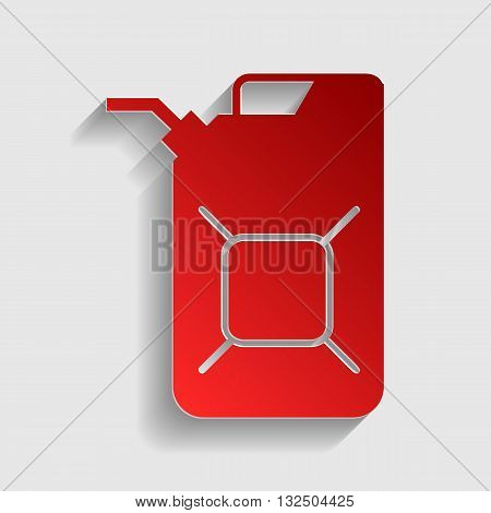 Jerrycan oil sign. Jerry can oil sign. Red paper style icon with shadow on gray.