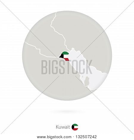 Map Of Kuwait And National Flag In A Circle.