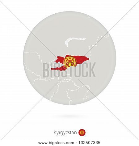 Map Of Kyrgyzstan And National Flag In A Circle.