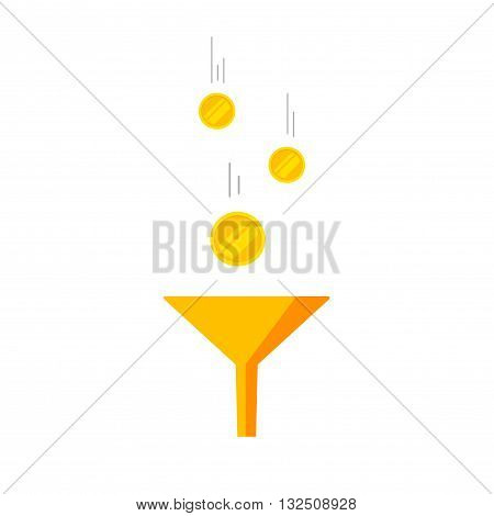Funnel icon vector isolated on white background, flat golden funnel with falling coins money