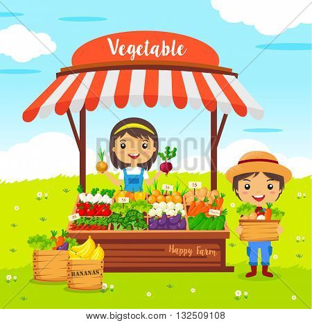 vegetables shop stall, farmers market cartoon characters vector, Local market farmer vegetables