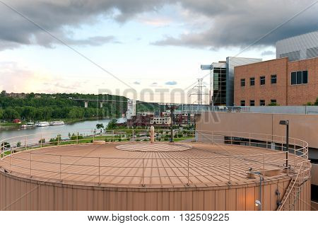 downtown saint paul overlooking mississippi river and city landmarks including storage tank for district energy system