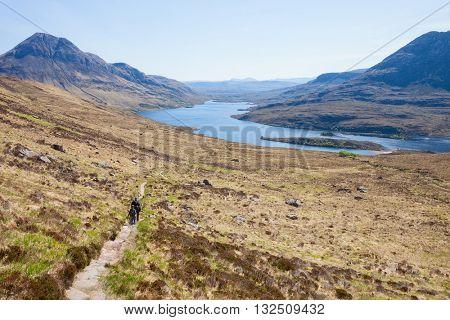 The footpath near the Loch Lurgainn . ( View from Stac Pollaidh  towards loch lurgainn), Inverpolly, Northwest Highlands, Scotland, UK.