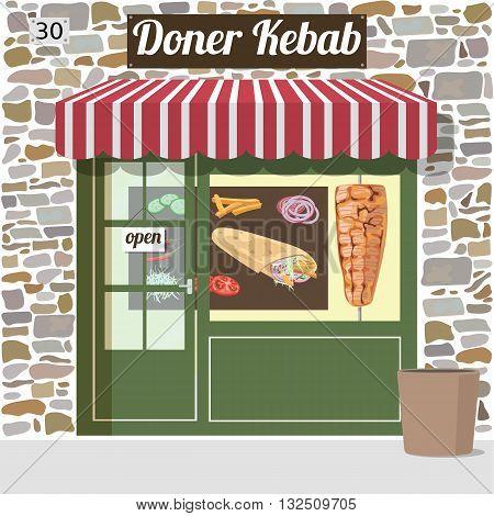 Doner kebab fast food cafe building. Vector illustration.