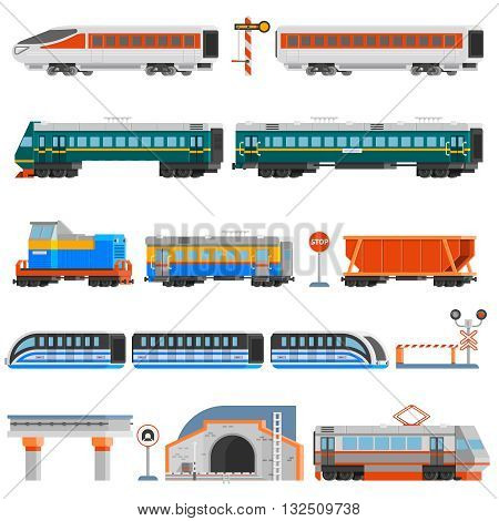 Rail transport flat colorful icons set of passenger and cargo wagons locomotives tram tunnel monorail isolated vector illustration