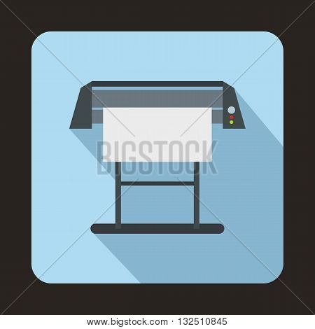 Large format inkjet printer icon in flat style on a blue background