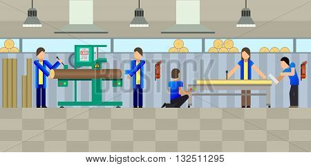 Vector illustration of a small woodworking shop