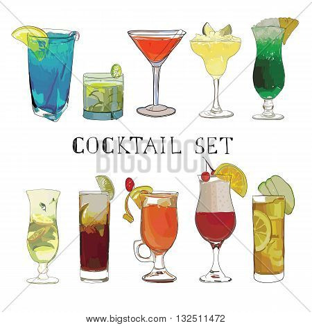 Vector illustraton of Cocktail hand drawn, decorative icons set with margarita mojito bloody mary isolated. Watercolor effects