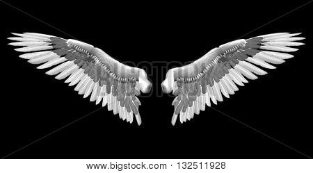 white wings - 3D isolated illustration over black background