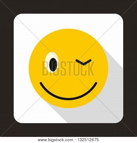 Eyewink emoticon icon in flat style on a white background