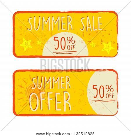 summer sale and offer labels with 50 percentages off and sun and starfish signs - text in yellow drawn banners with symbols, business seasonal shopping concept, vector