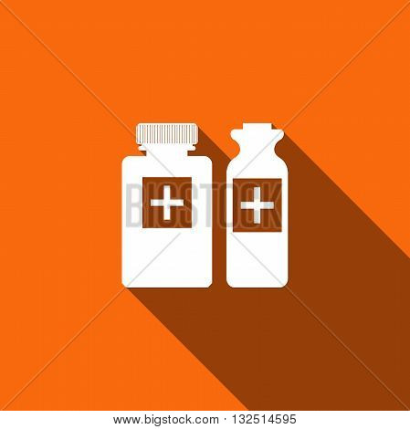 Medical bottles icon with long shadow. Vector illustration