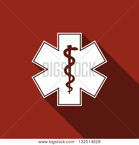 Medical symbol of the Emergency - Star of Life icon with long shadow. Vector illustration.