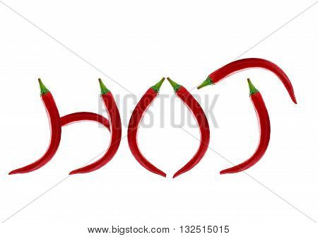 Word Hot Writen With Chili Pepper Isolated On A White Background