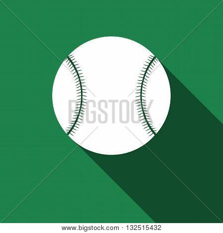 Baseball ball icon with long shadow. Vector Illustration.