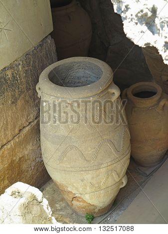 Ancient clay Minoan amphora in Malia Crete Greece