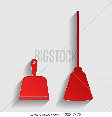 Dustpan vector sign. Scoop for cleaning garbage housework dustpan equipment. Red paper style icon with shadow on gray.